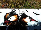 Street Creatures, Next-Door Nature, graffiti, street art, great crested grebes, Walthamstow Marshes, Lee Valley, UK